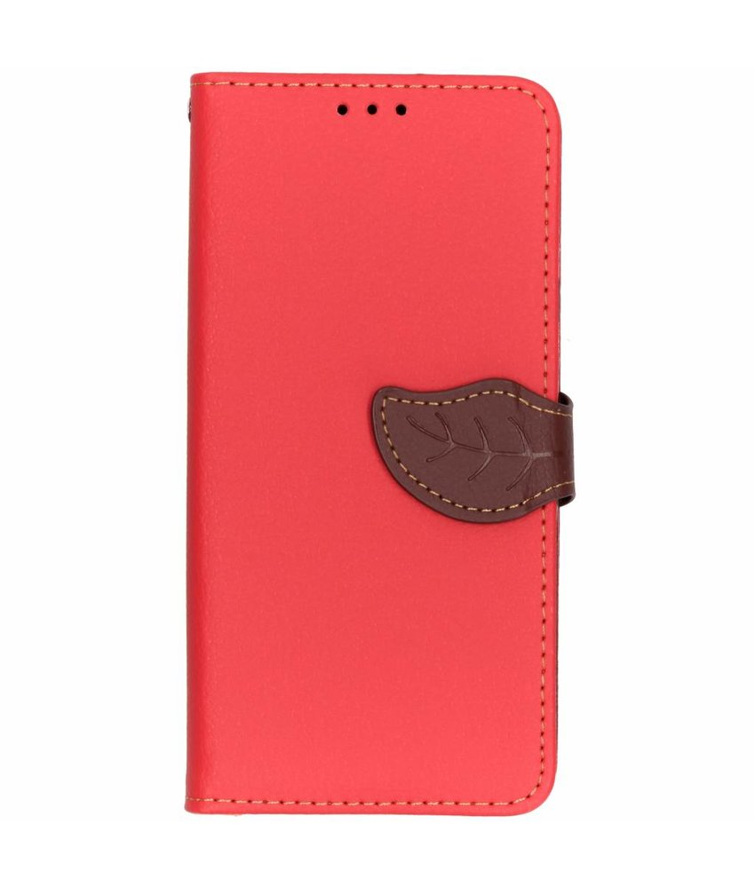 Rood blad design TPU booktype hoes Samsung Galaxy J4 Plus