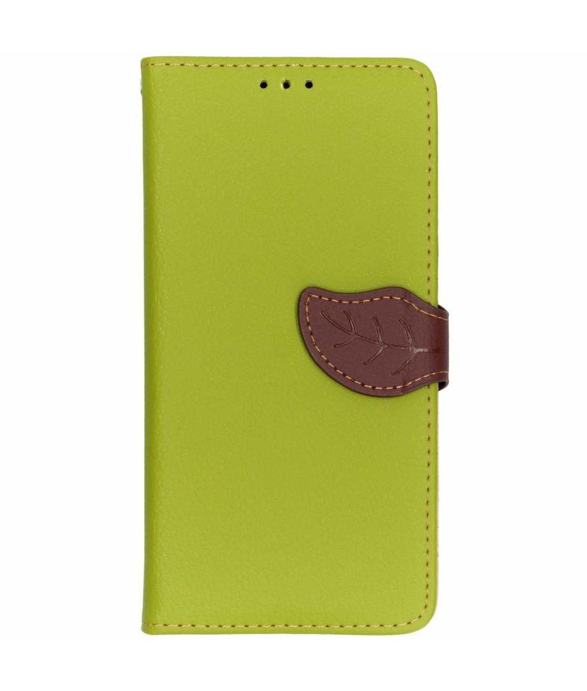 Groen blad design TPU booktype hoes Samsung Galaxy A9 (2018)
