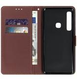 Zwarte blad design TPU booktype hoes voor de Samsung Galaxy A9 (2018)