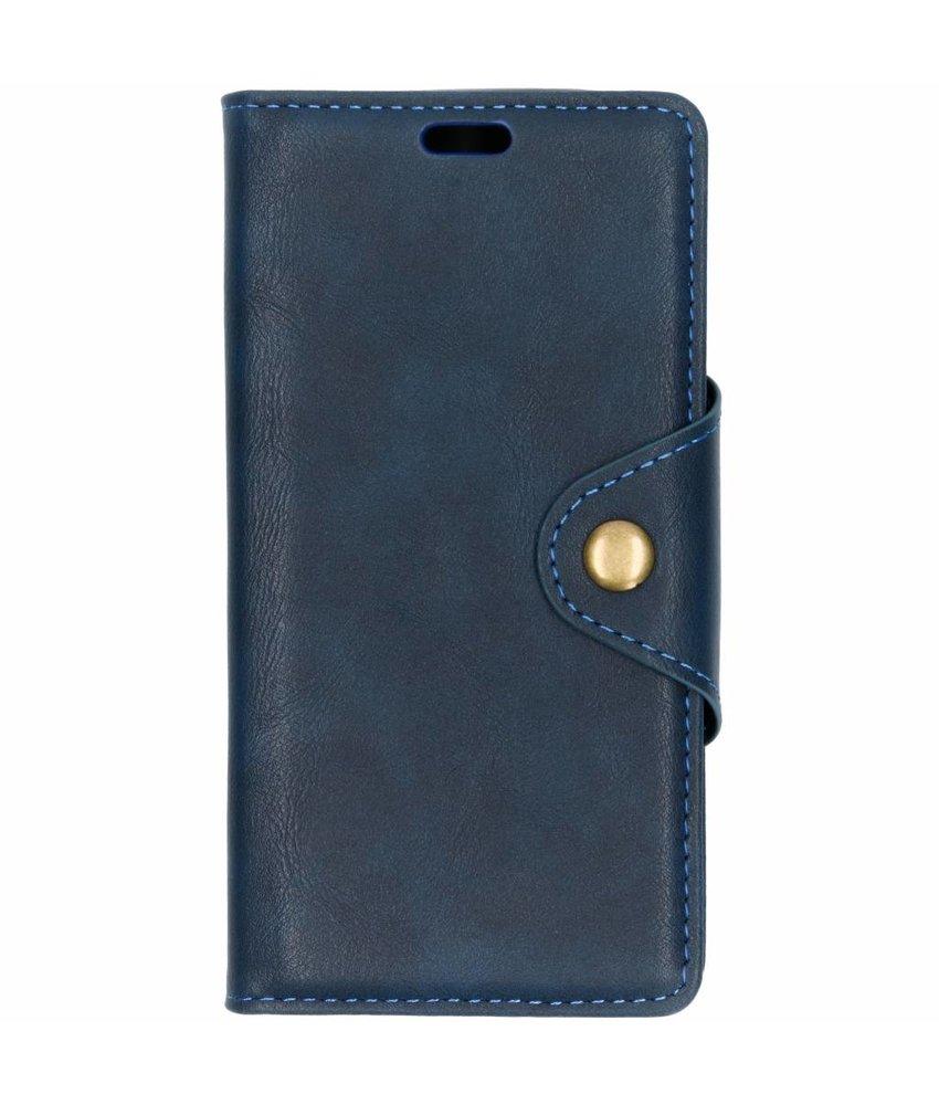 Blauw button booktype hoes Motorola Moto E5 Play
