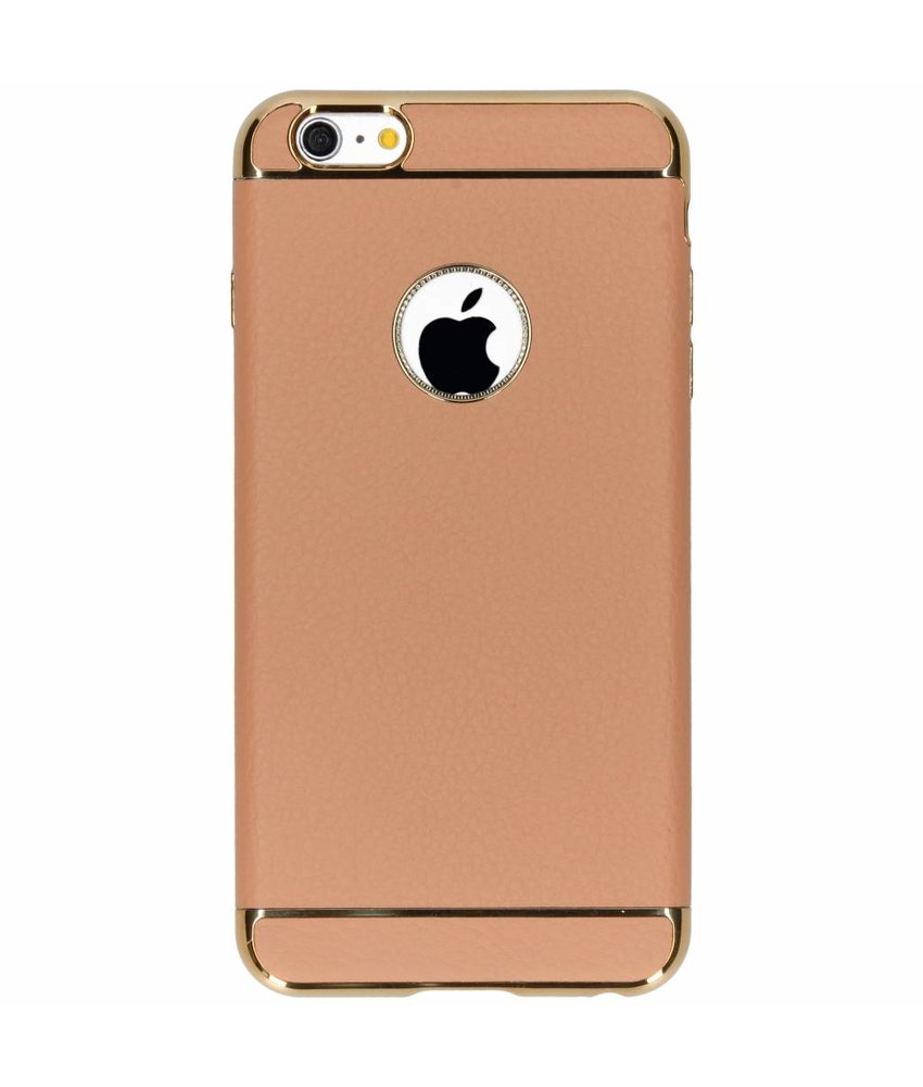 Bruin luxe lederen siliconen case iPhone 6(s) Plus
