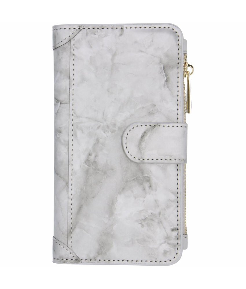 Grijs marmer design luxe portemonnee hoes iPhone Xr