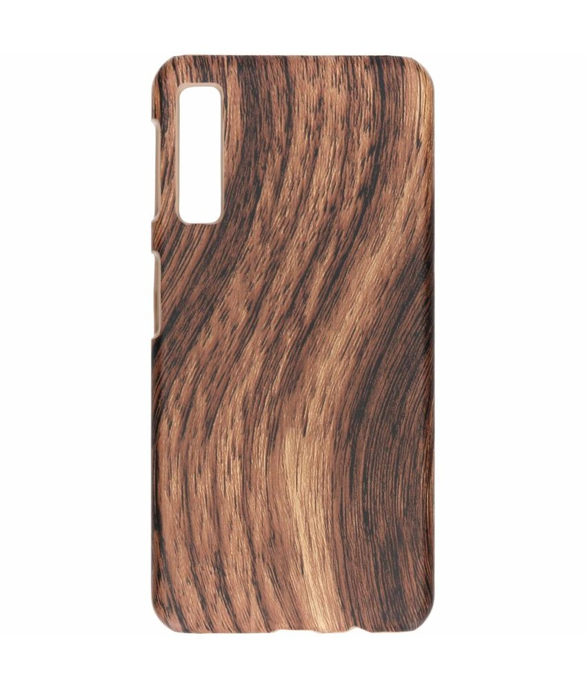 Donkerbruin hout design hardcase hoesje Galaxy A7 (2018)