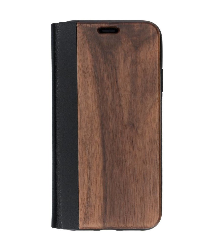Hout Lederen Booktype iPhone Xr