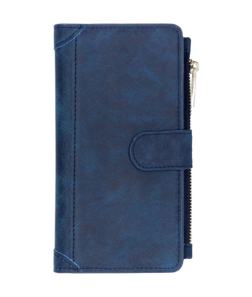 Blauw luxe portemonnee hoes Huawei P Smart Plus