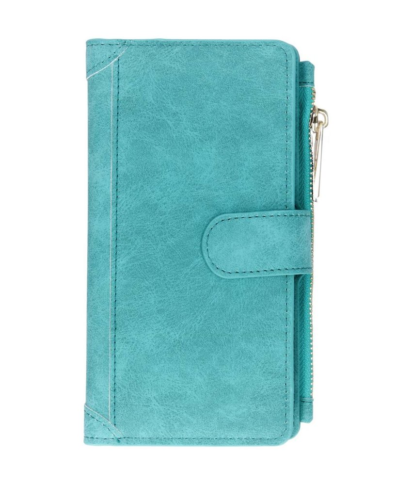 Turquoise luxe portemonnee hoes Huawei P Smart Plus