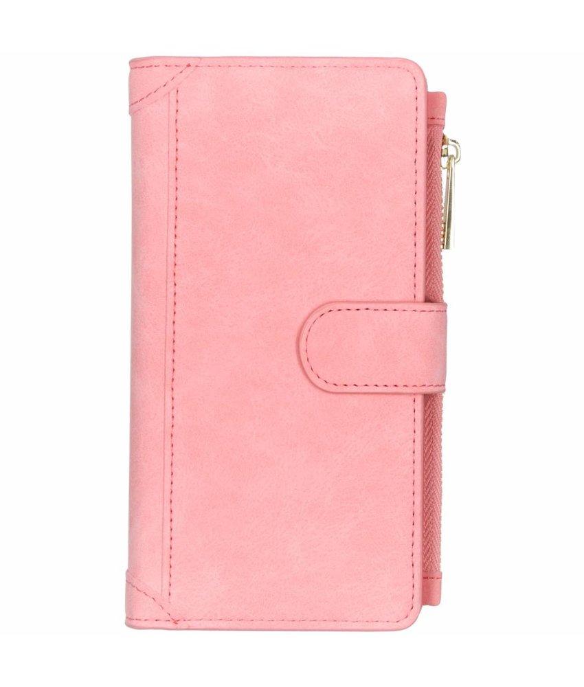Roze luxe portemonnee hoes Huawei P Smart Plus