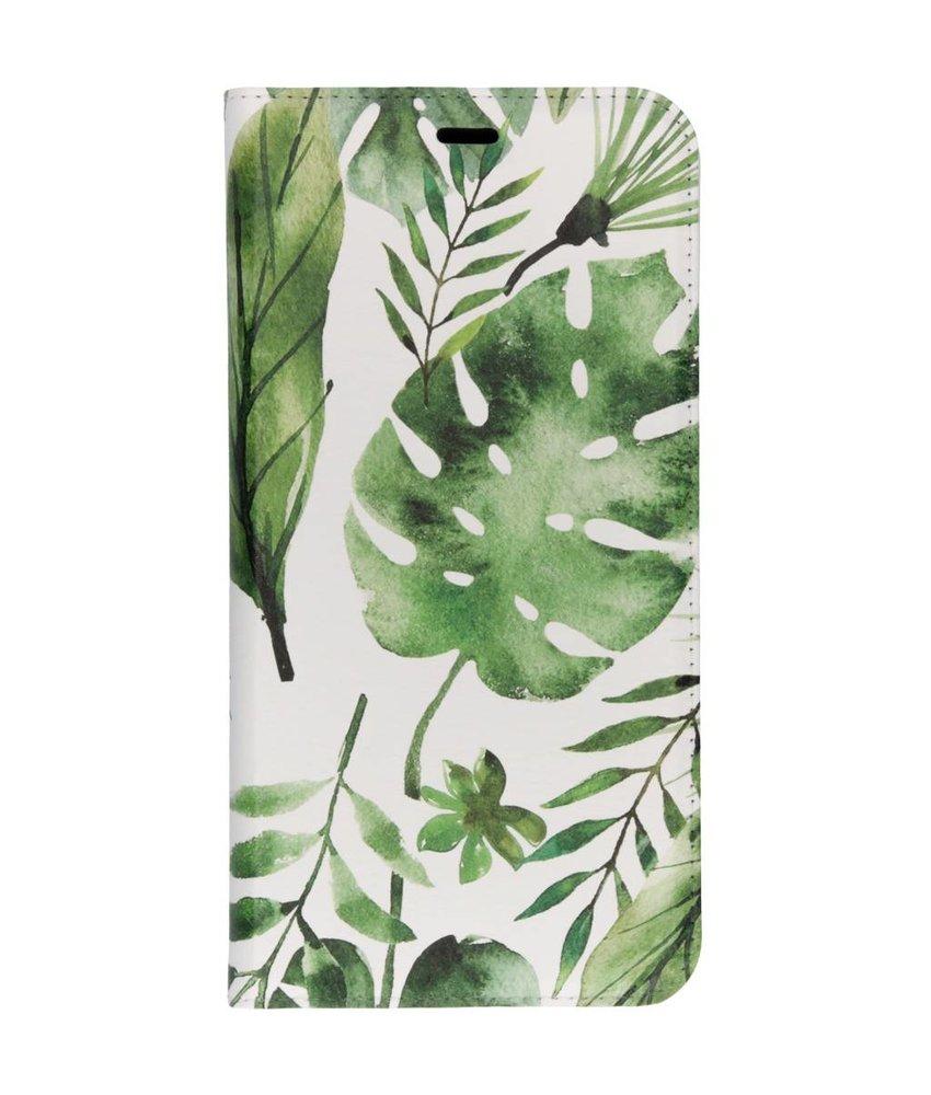 Groene bladeren Design TPU Bookcase Samsung Galaxy J4 Plus