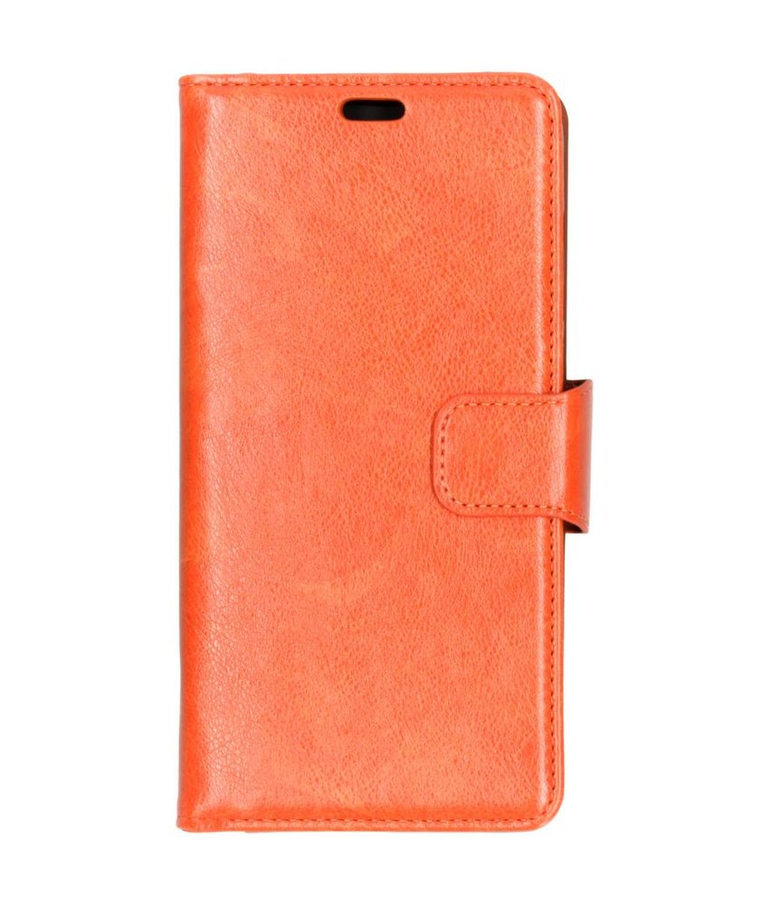 Oranje split leather booktype Samsung Galaxy A9 (2018)