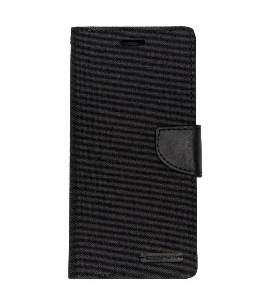Mercury Goospery Zwart Canvas Diary Case Samsung Galaxy J6 Plus