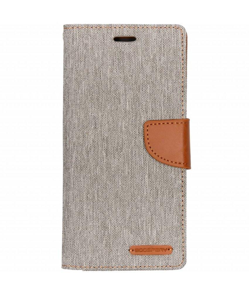 Mercury Goospery Grijs Canvas Diary Case Samsung Galaxy J6 Plus
