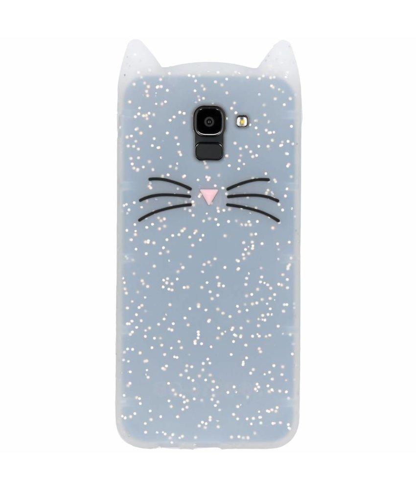 Transparant glitter kat TPU hoesje Samsung Galaxy J6