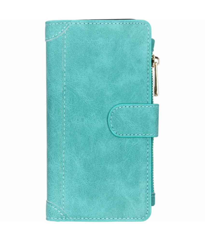 Turquoise luxe portemonnee hoes Huawei P Smart (2019)