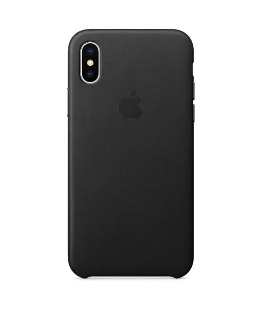 Apple Leather Backcover iPhone X - Zwart