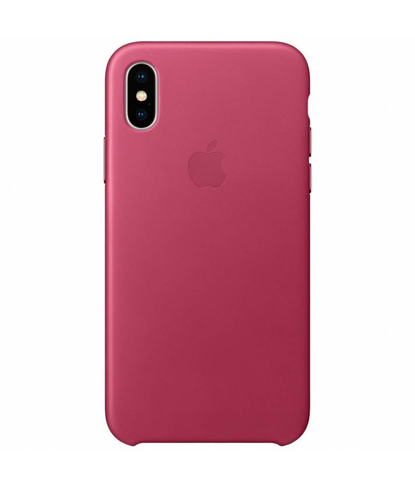 Apple Leather Backcover iPhone X - Fuchsia