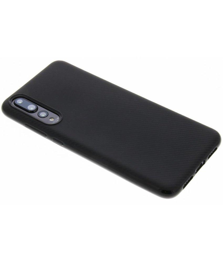 Zwart Carbon siliconen hoesje Huawei P20 Pro