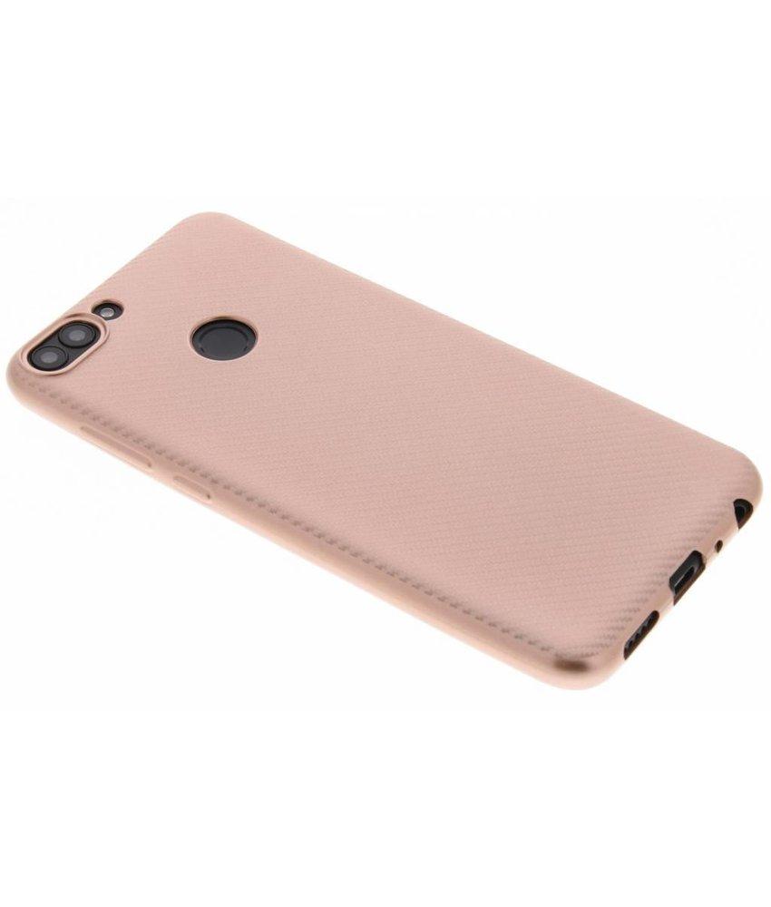 Rosé Goud Carbon siliconen hoesje Huawei P Smart