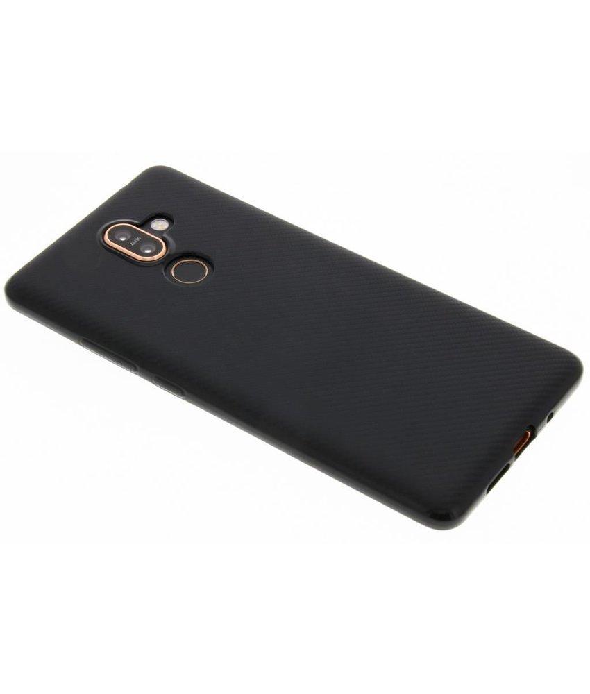 Zwart Carbon siliconen hoesje Nokia 7 Plus