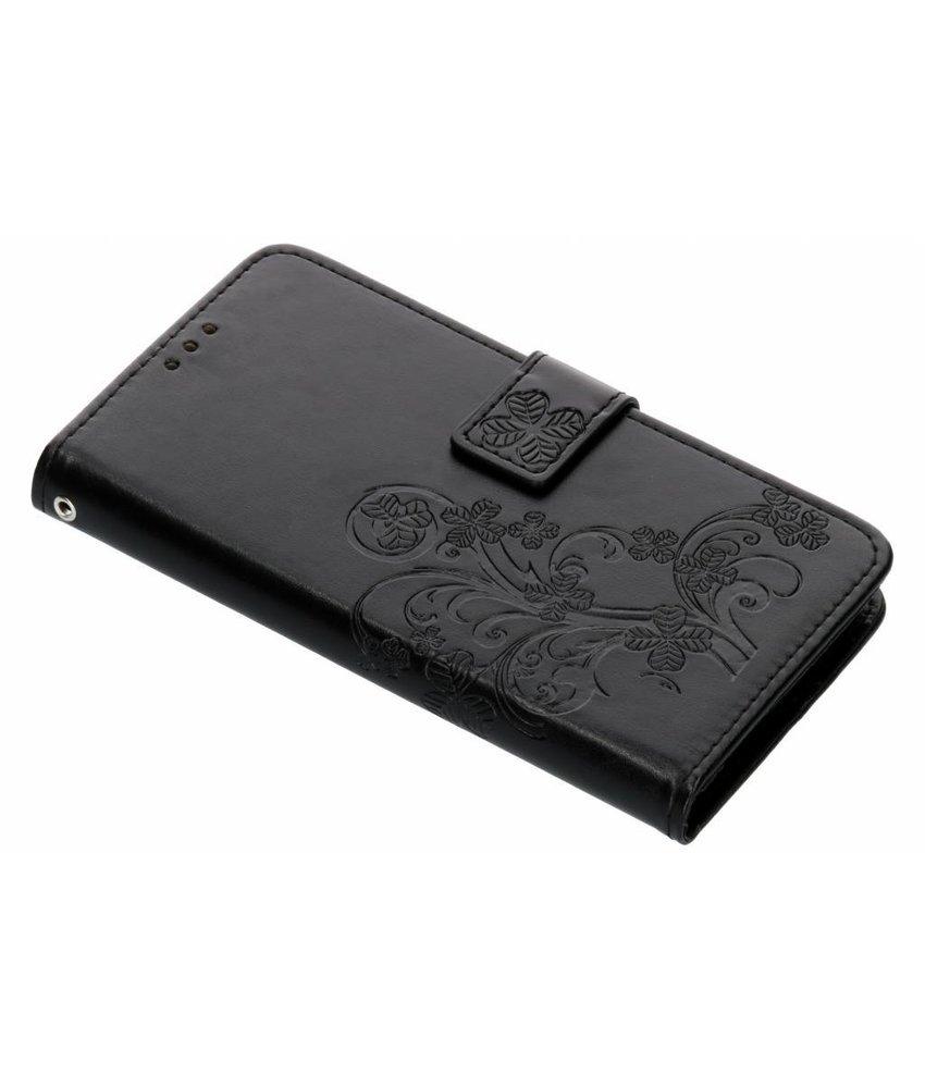 Zwart Klavertje bloemen booktype hoes Motorola Moto G6
