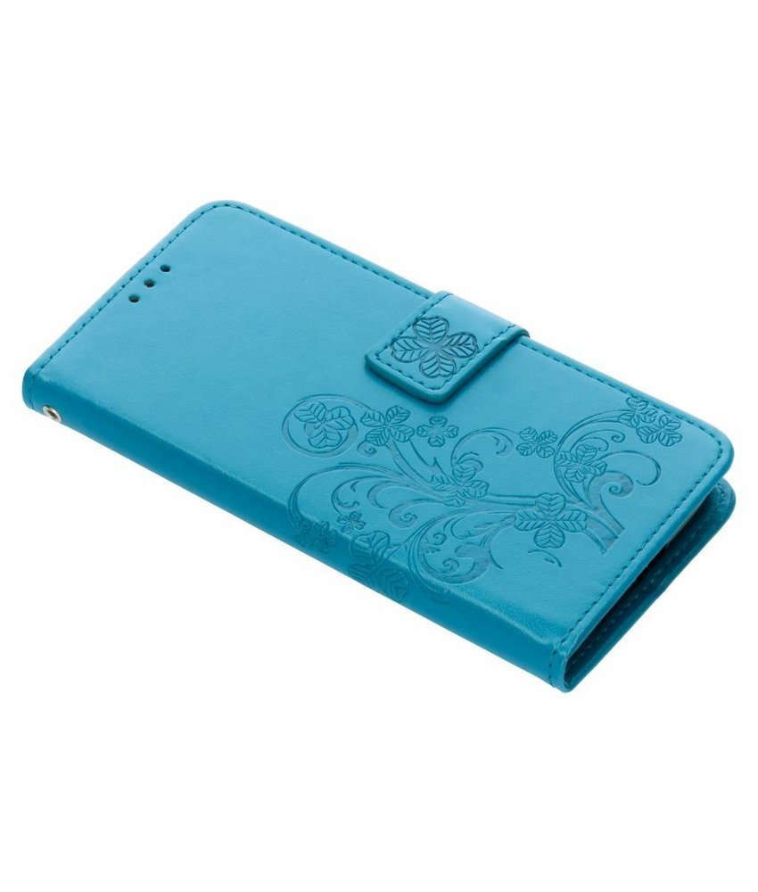Turquoise Klavertje bloemen booktype hoes Motorola Moto G6