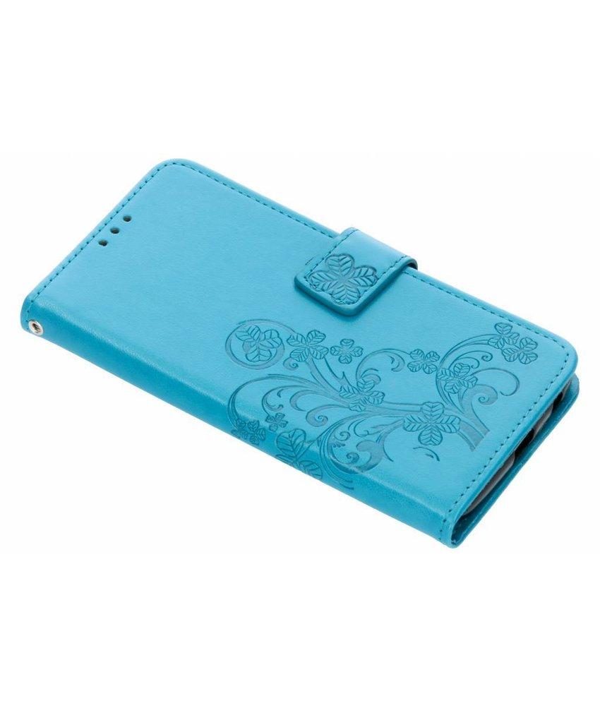 Turquoise klavertje bloemen booktype Motorola Moto G6 Plus