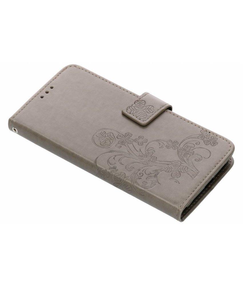 Grijs klavertje bloemen booktype Motorola Moto G6 Plus