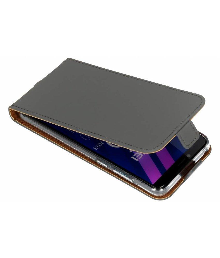 Selencia Grijs Luxe TPU Flipcase Huawei Y6 (2018)