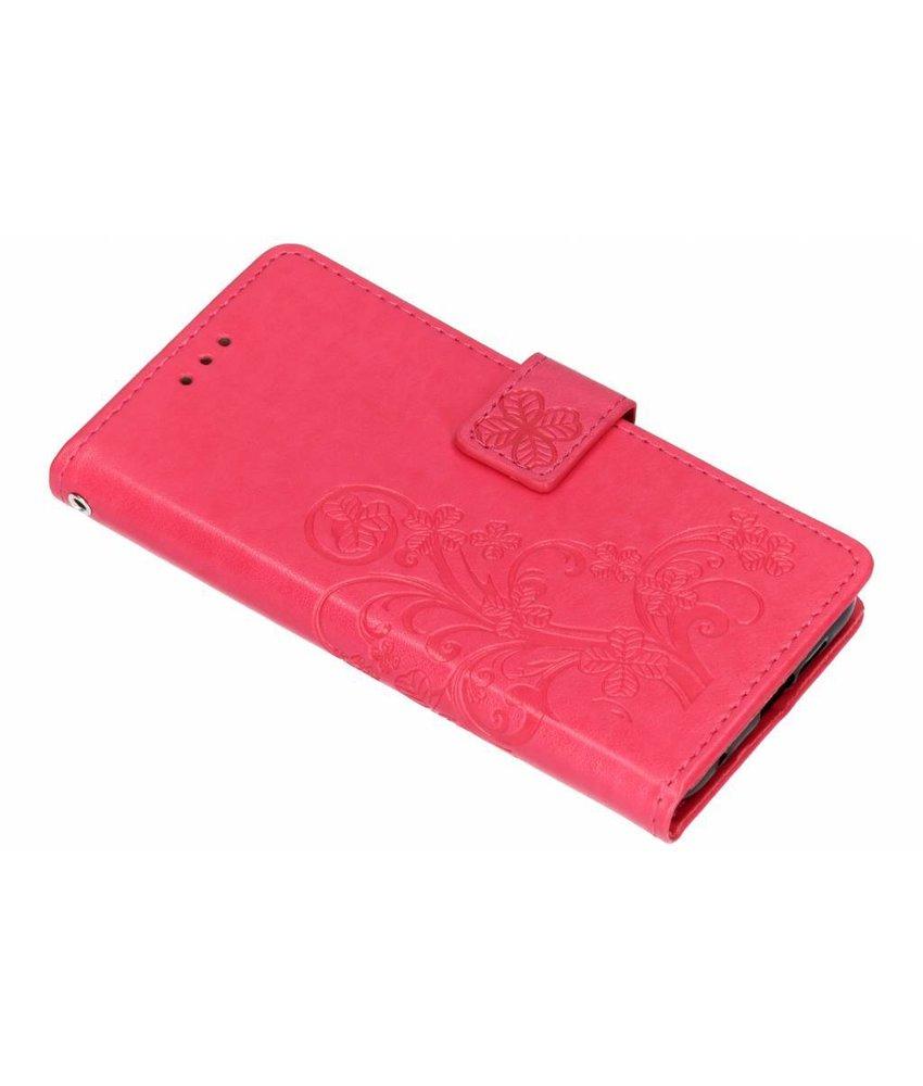 Fuchsia klavertje bloemen booktype hoes Nokia 6.1 Plus