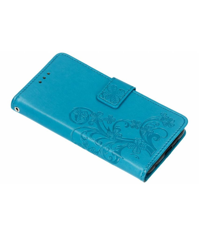 Turquoise klavertje bloemen booktype hoes Nokia 6.1 Plus