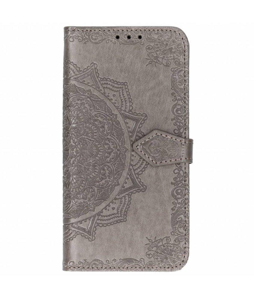Grijs mandala booktype hoes Huawei Mate 20 Lite