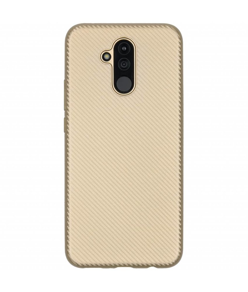 Goud Carbon siliconen hoesje Huawei Mate 20 Lite