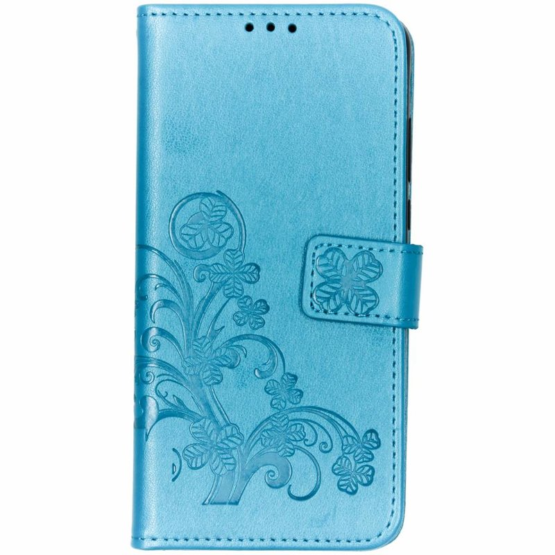 Turquoise klavertje bloemen booktype hoes Huawei P30 Lite