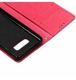 Klavertje Bloemen Booktype voor Samsung Galaxy S10e - Fuchsia