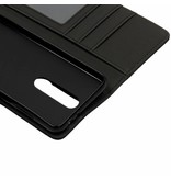 Zwarte luxe leder booktype hoes voor de Nokia 5.1 Plus