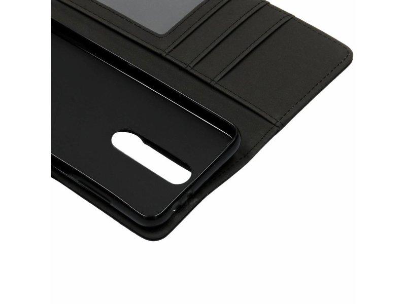 Nokia 5.1 Plus hoesje - Zwarte luxe leder booktype