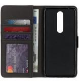Kastanjebruine luxe leder booktype hoes voor de Nokia 5.1 Plus