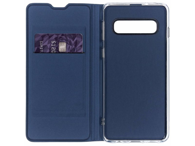 Samsung Galaxy S10 hoesje - Donkerblauwe luxe stand booktype