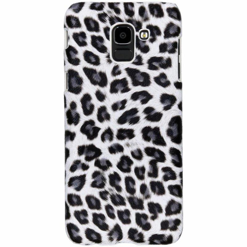 Wit luipaard design hardcase hoesje Samsung Galaxy J6