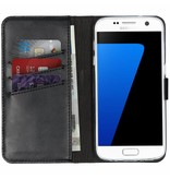Selencia Echt Lederen Booktype voor Samsung Galaxy S7 - Zwart