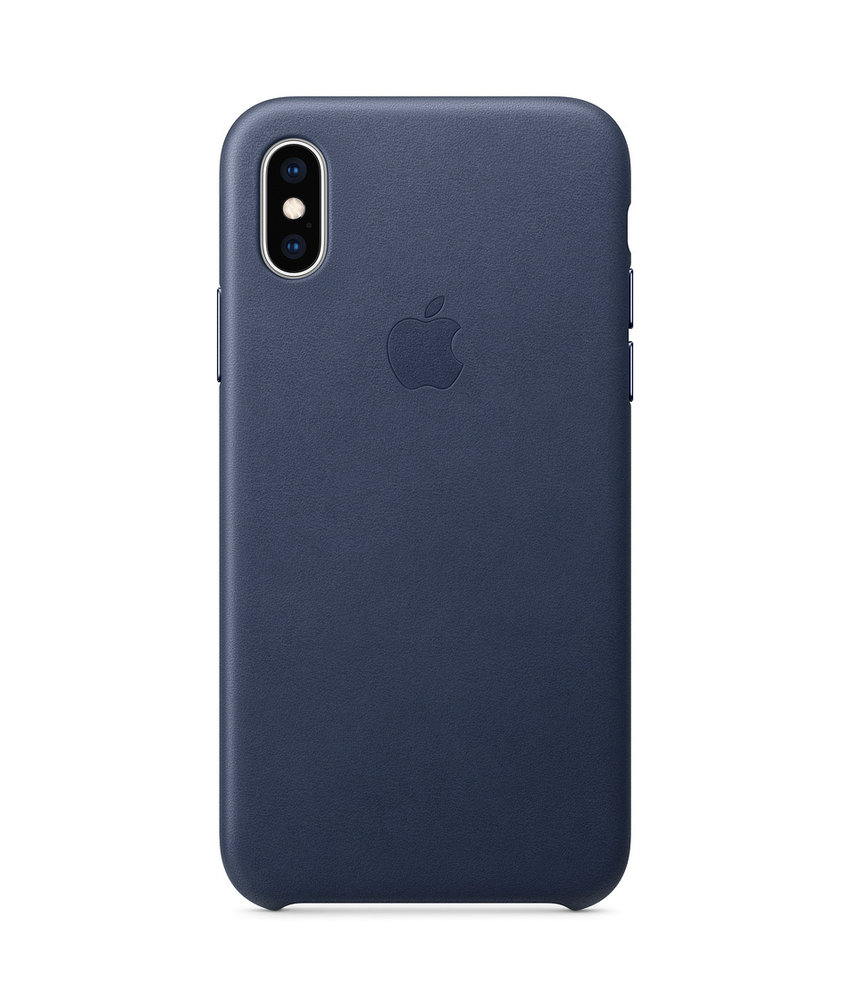 Apple Leather Backcover iPhone Xs / X - Donkerblauw