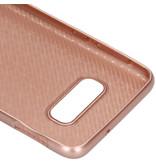 Carbon Softcase Backcover voor de Samsung Galaxy S10e - Rosé Goud