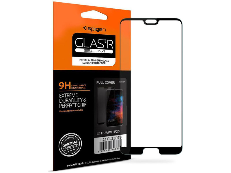 Spigen GLAStR Full Cover Screenprotector voor de Huawei P20 - Zwart