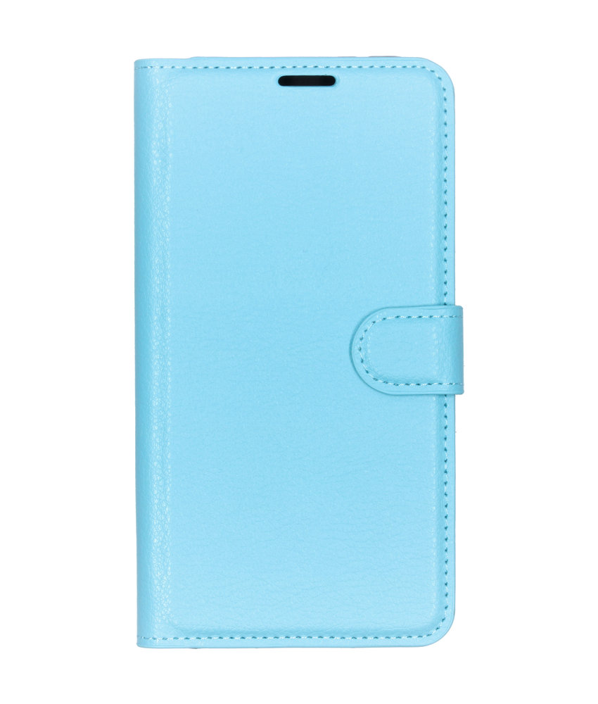 Basic Litchi Booktype Huawei Y7 (2019) - Blauw