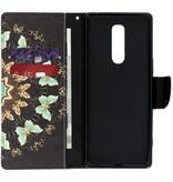 Design Softcase Booktype voor de Sony Xperia 1 - Zwarte vlinder