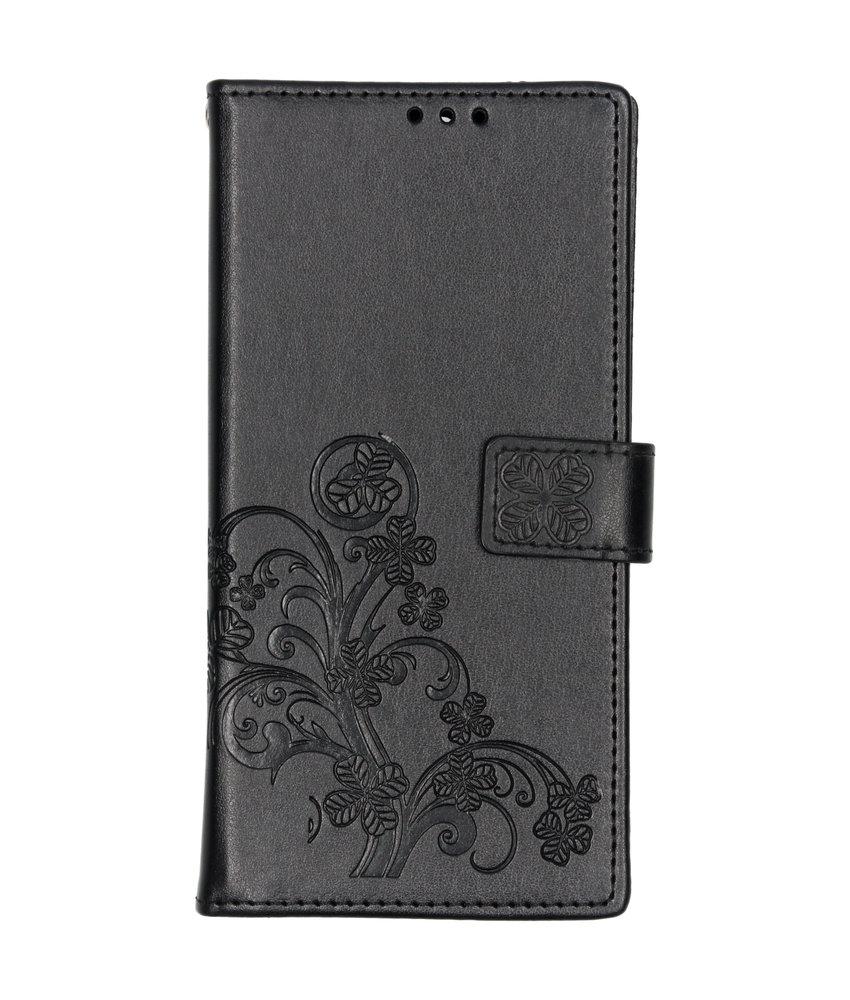 Klavertje Bloemen Booktype Sony Xperia 10 Plus - Zwart