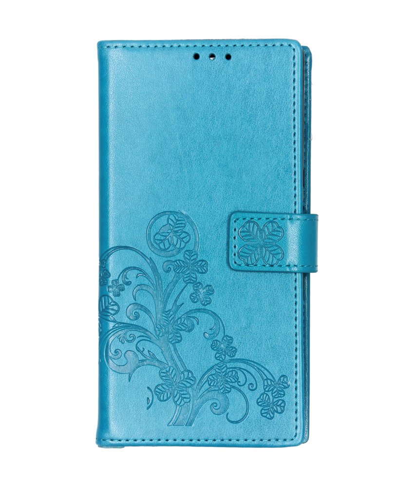 Klavertje Bloemen Booktype Sony Xperia 10 Plus - Turquoise