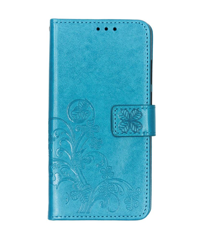 Klavertje Bloemen Booktype Huawei Y6 (2019) - Turquoise