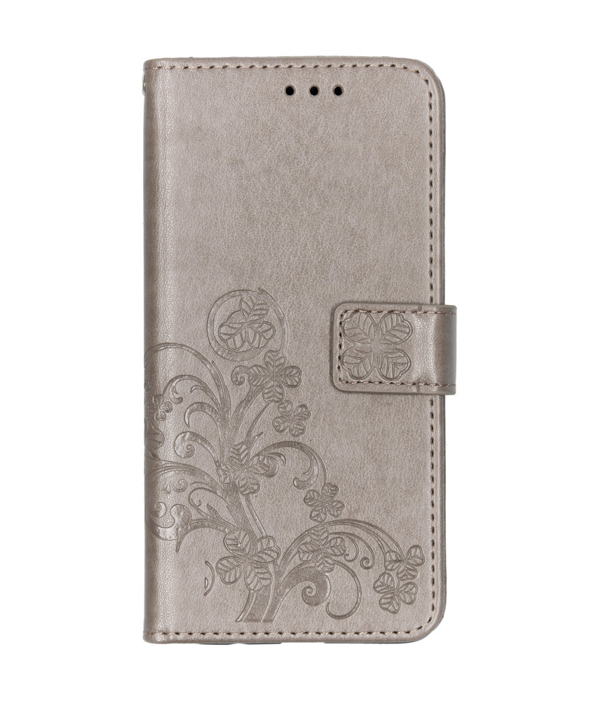 Klavertje Bloemen Booktype Samsung Galaxy A50 - Grijs