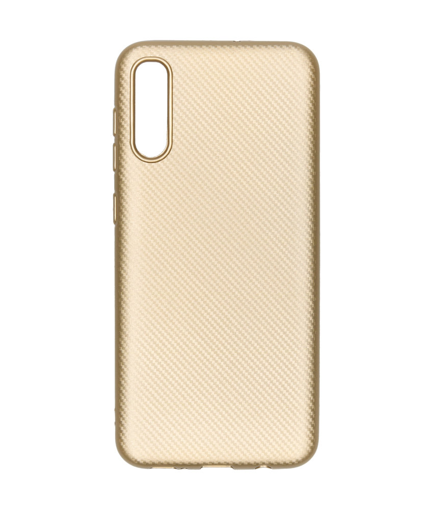 Carbon Softcase Backcover Samsung Galaxy A50 - Goud