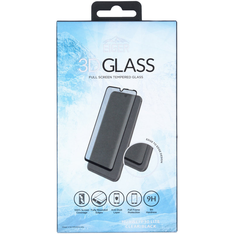 Eiger Edge to Edge Glass Screenprotector Huawei P30 Lite - Zwart
